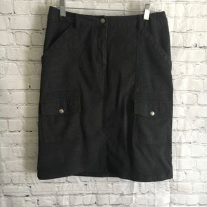 Charcoal gray flannel cargo skirt size 8